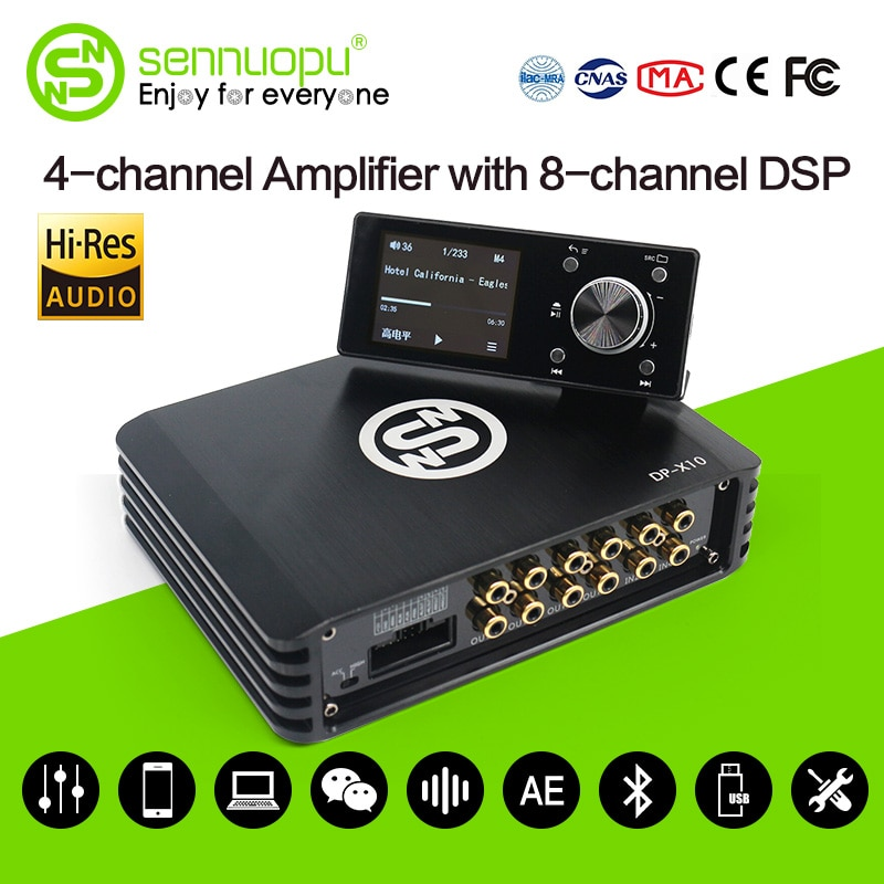 Sennuopu Car DSP Processor 4 Channel Amplifier 8 Channels Digital Sound Processors with LCD Remote C