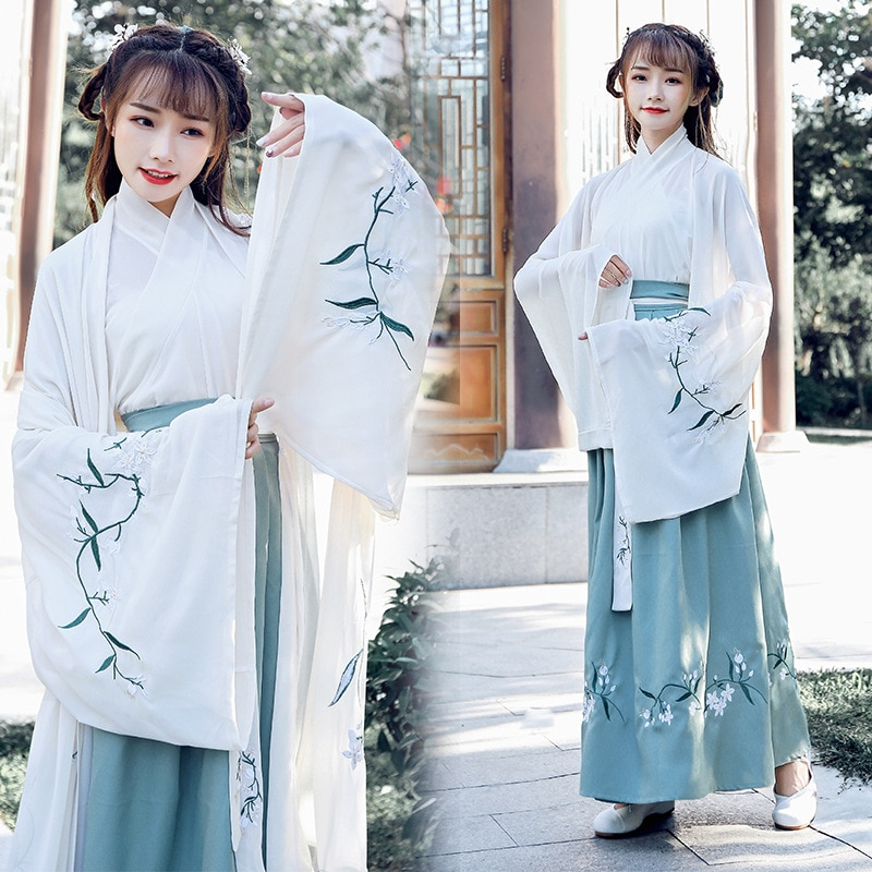Womens New Style Ancient Chinese Hanfu Adult Female Han Element Embroidery Stage Performance Set