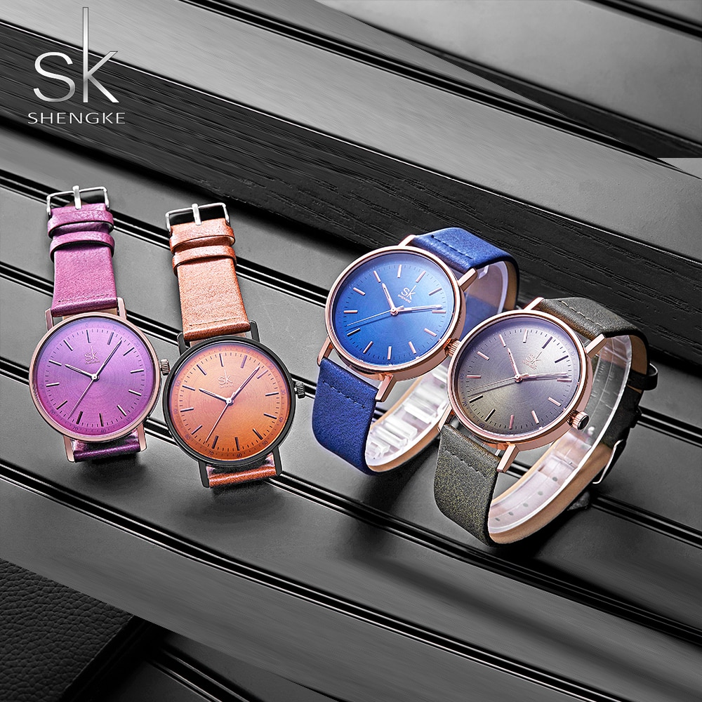 Shengke Women Watches Brown Fashion Leather Strap Ladies Quartz Watch Dress Relogio Feminino Women's Day Gifts Watches 2019 enlarge