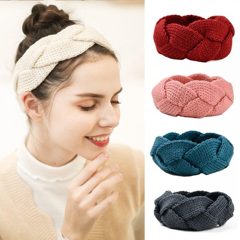 Diadema tejida de ganchillo de invierno de moda para mujeres/niñas turbante de Color sólido diadema cruzada caliente accesorios para el cabello