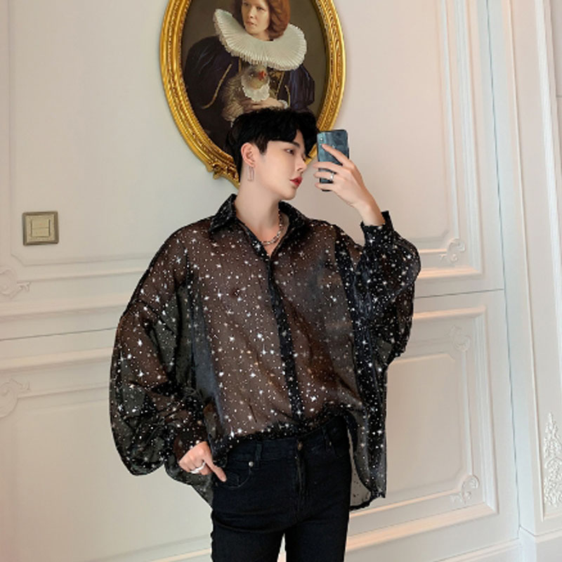 Verano malla transparente sexy camisa de gran tamaño para hombres estrellas impresas blusa de gran tamaño para hombre vintage manga larga transparente camisas delgadas
