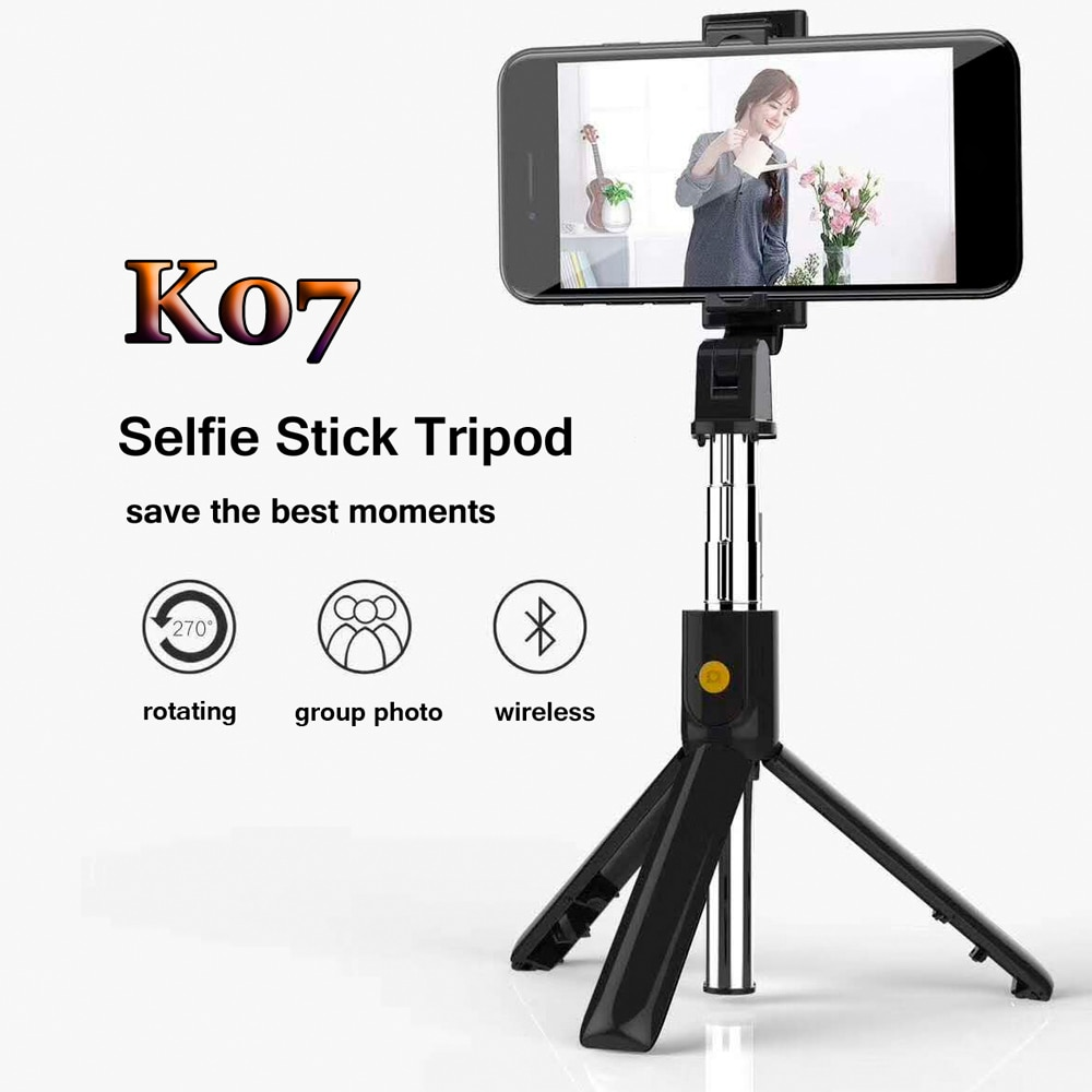 K07 Wireless Bluetooth Selfie Stick Mini Foldable Portable Handheld Shutter Remote Extendable Self-Pole Tripod For Smartphone