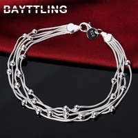 bayttling 925 sterling silver 8 inch 5 lines glossy bead snake chain bracelet for woman charm party jewelry birthday gift