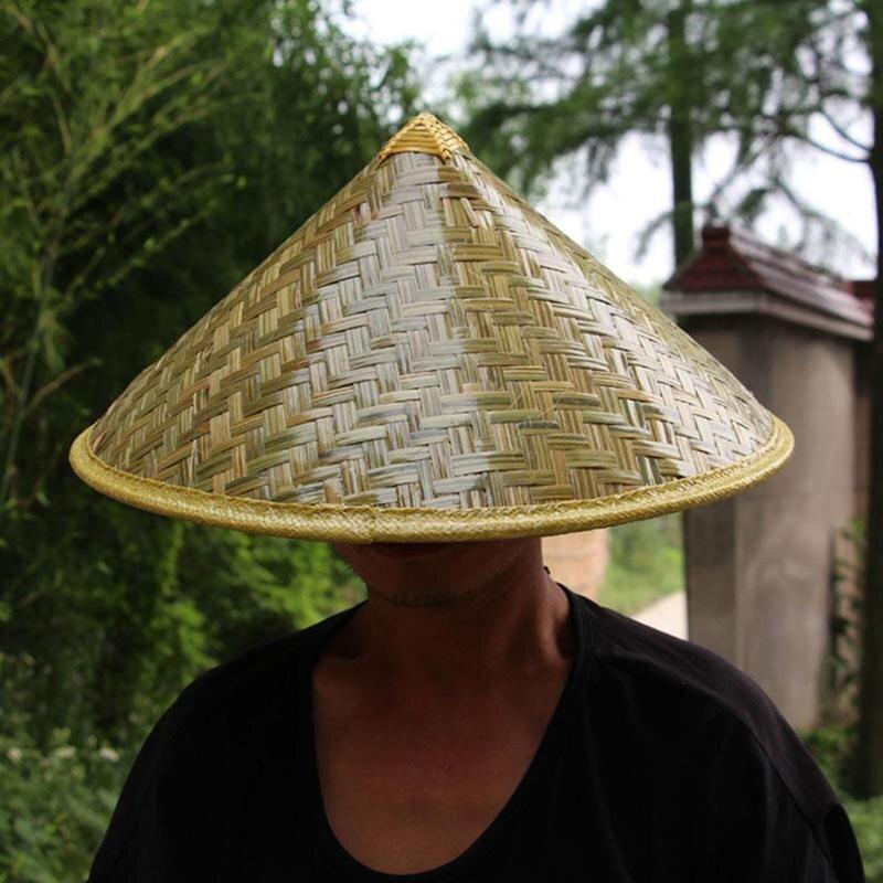 Китайский Стиль бамбуковые Рыбацкая шляпа Водонепроницаемый ручной работы в стиле ретро для женщин ткань соломы Кепки открытый фермер большой широкий угол обзора от солнца, дождя Шапки