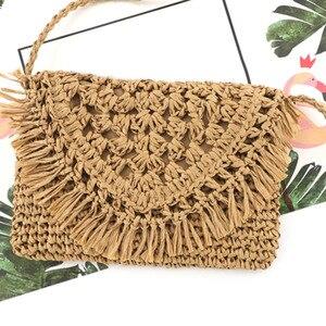Summer Straw Bags For Women Handmade Tassel Beach Bags 2021 Raffia Rattan Woven Handbags Vacation Shoulder Crossbody Bags Clutch
