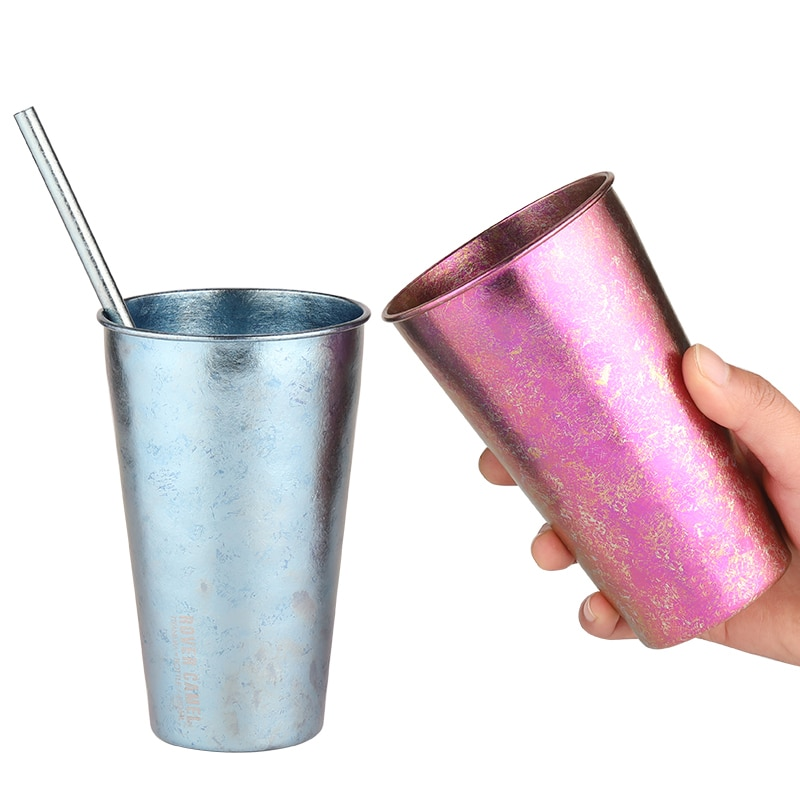تيارسان-كوب من التيتانيوم على شكل زهرة الثلج ، 480 مللي ، مع شفاطة ، للاستخدام المنزلي ، فنجان قهوة فردي ، كوب عصير ، زجاجة بيرة ، أواني شرب Ta8721