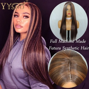 YYsoo #4 Highlights #30 Color Long Silky Straight Japan Futura Synthetic Hair Full Machine Made Wigs For Women Ombre No Lace Wig