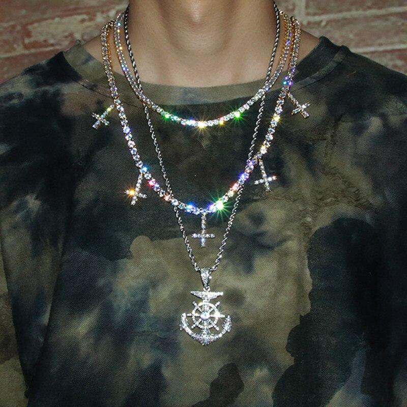 Collier de Tennis glacé pour hommes femmes mode Zircon croix collier de Tennis bijoux Hip hop