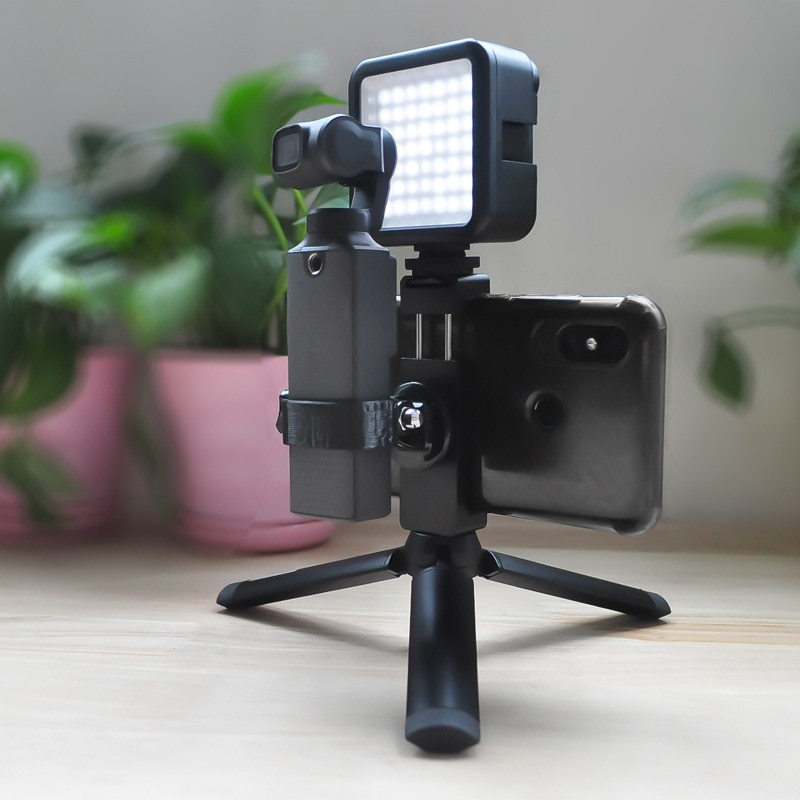 Handheld tripod bracket with CNC phone clip holder mount & LED lights for FIMI PALM camera gimbal accessories expansion kits