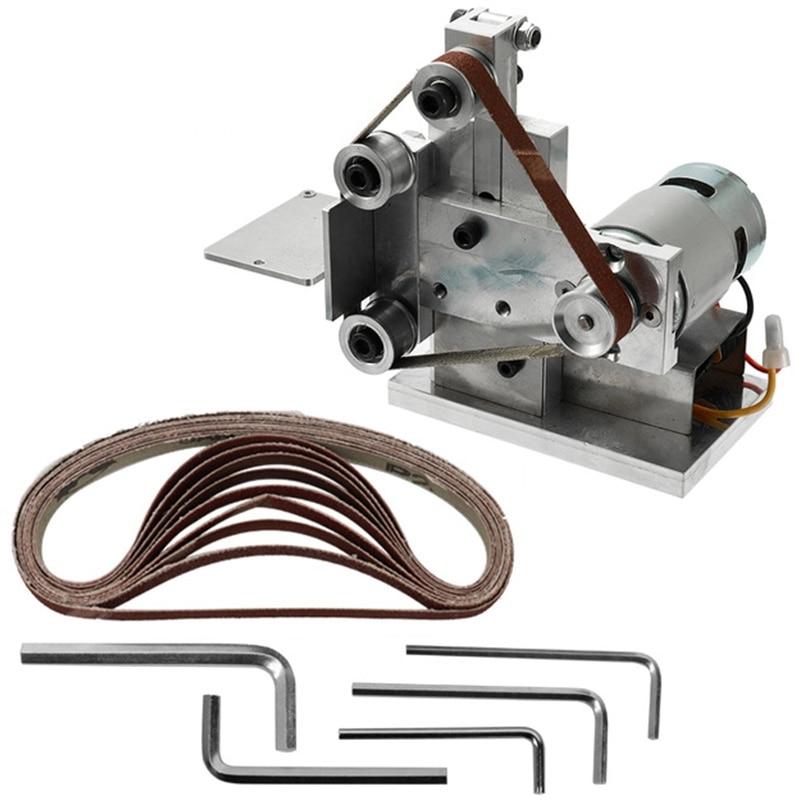 ¡Promoción! Molinillo multifuncional Mini lijadora de correa eléctrica Diy pulidora máquina cortador bordes afilador amoladora de cinturón