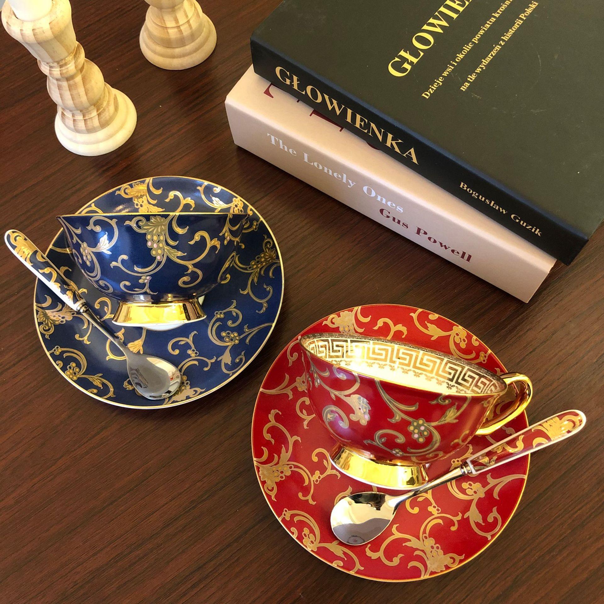 فنجان القهوة ، لوحة ، كوب أحمر ، طقم صيني العظام الإنجليزية ، نمط المحكمة الأوروبية ، طقم شاي بعد الظهر ، كوب زهرة ، كوب الإفطار