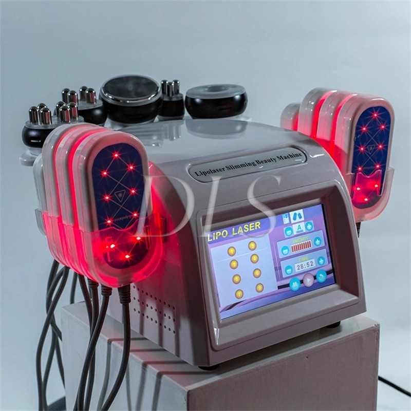 2021 Newest 6 In 1 40K Ultrasonic Cavitation Vacuum Radio Frequency rf Laser 8 Pads lipo Laser Slimming Machine for home use