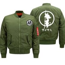 Mens Jacket Anime Dragon Ball Print Streetwear Coat Autumn Winter 2019 Thick Bomber Jackets Male Oversize S-8XL Military Jacket