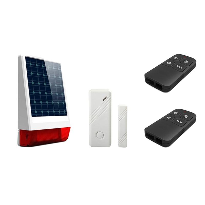 جديد تعمل بالطاقة الشمسية عالية ديسيبل الصوت والضوء طقم إنذار مقاوم للماء والعبث اللاسلكي جهاز إنذار خارجي الاتحاد الأوروبي التوصيل