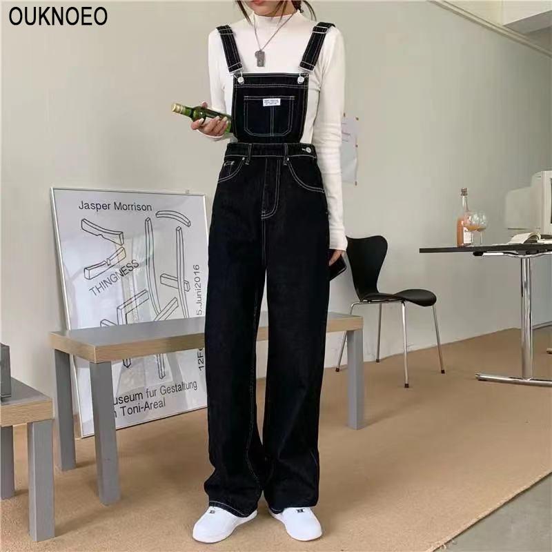 Women's Denim Jumpsuits Black Straight Tube Relaxed Chic Straps Trousers 2021 Korean Preppy Style Retro High Waist Denim Jeans