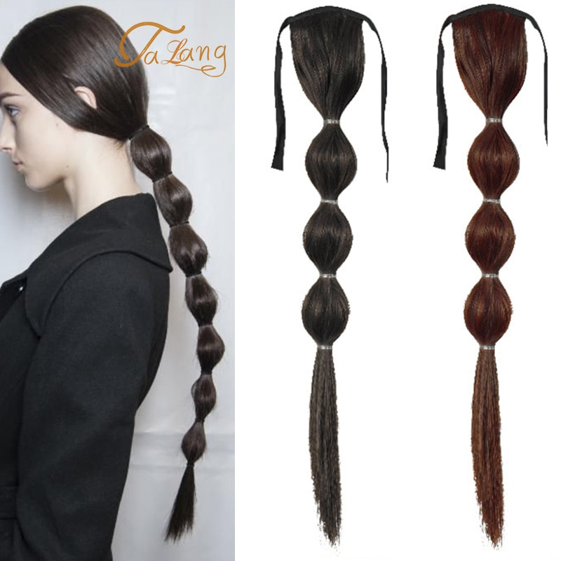 TALANG negro marrón Clip en linterna trenzas de pelo falso Bubble Fishtail trenzas sintéticas extensiones de peluca