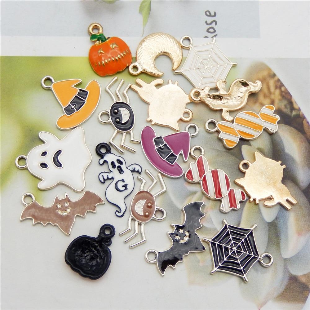 6/18 pièces dessin animé Halloween thème breloques mélange émail bonbons citrouille chat pendentif pour bijoux accessoires à créer soi-même enfant artisanat faisant des résultats