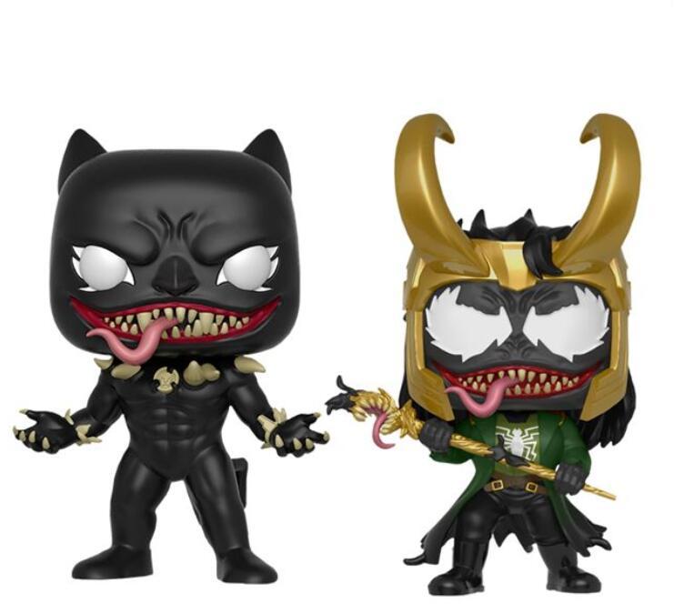 Anime Marvel venomizado Pantera Negra Loki película de vinilo figura de acción colección modelo de juguetes para niños
