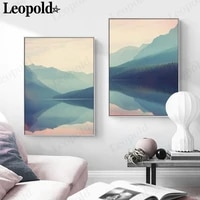 modern landscape canvas poster blue mountain lake pink sky water painting wall art nordic home decoration