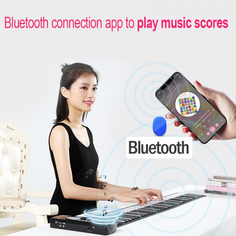 88 Keys Electronic Roll Up Piano Rechargeable Silicone Flexible MIDI Keyboard Built-in Speaker Support Bluetooth-compatible enlarge