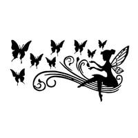 creativity personality fairy butterfly vinyl decal personalized car sticker blacksilver sunscreen waterproof 17 1cm8 9cm