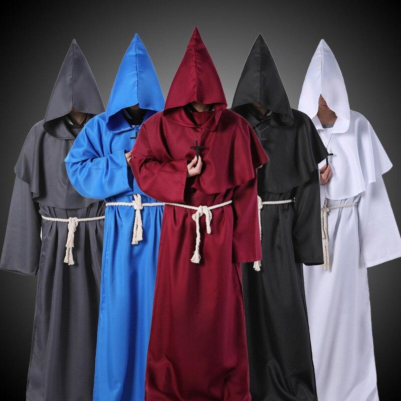 Disfraz de mago, Cosplay de Halloween, monje Medieval de fraile túnica, disfraz de sacerdote, ropa antigua, traje Cristiano