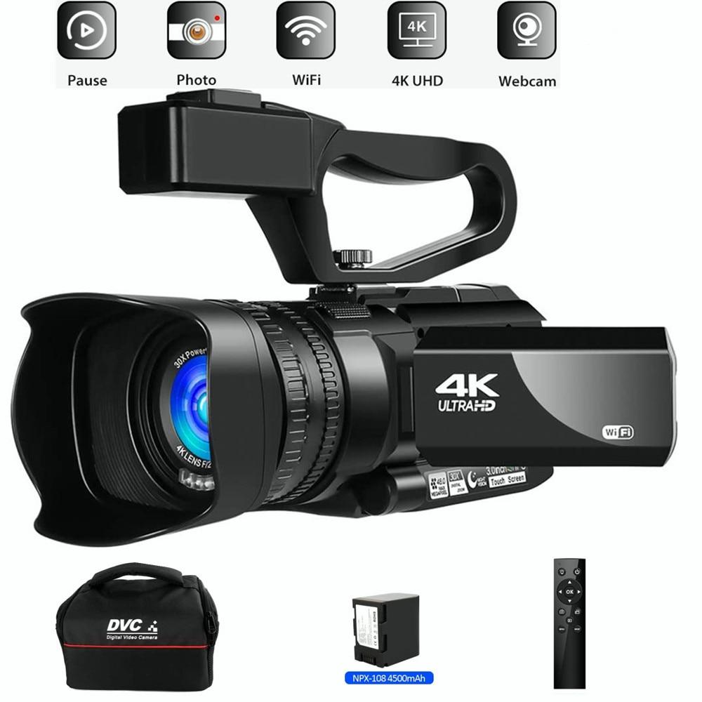 4K Ultra HD 48MP مسجّل وكاميرا فيديو ليوتيوب بث مباشر 30X تقريب رقمي IR رؤية ليلية Wifi تطبيق تحكم 3.0 بوصة