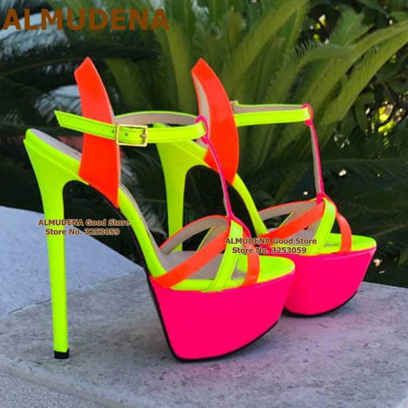 ALMUDENA-صندل فلورسنت بكعب عالٍ ، حذاء نسائي بنعل سميك ، أحزمة مرقعة ، أحمر ، وردي ، لحفلات الزفاف ، مع أحزمة T