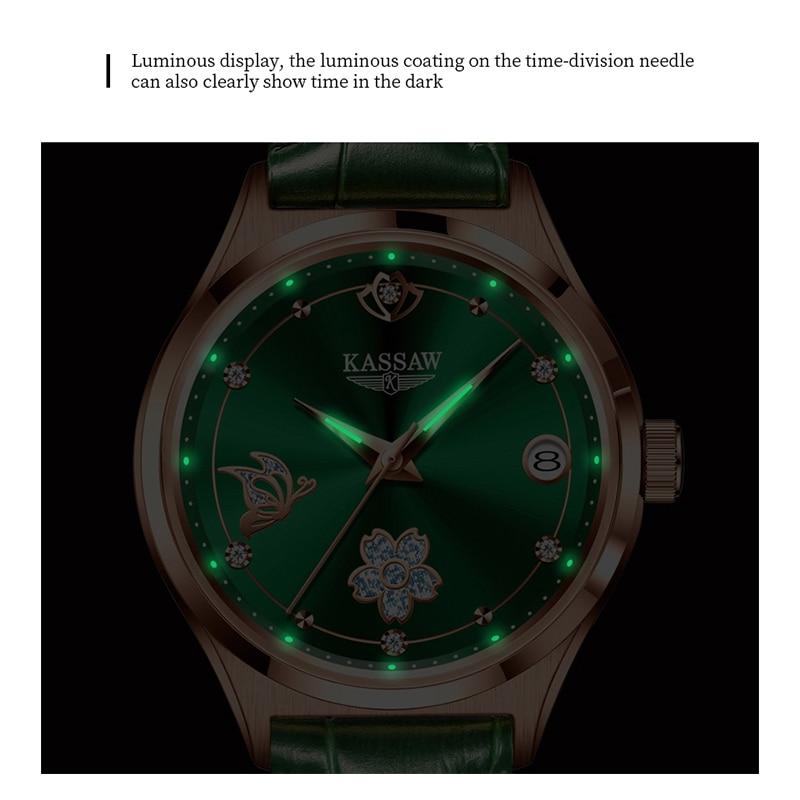 KASSAW Women Mechanical Watch Rose Gold Stainless Steel Ceramics Strap Dress Watches Fashion Luxury Brand Women's Automatic Watc enlarge