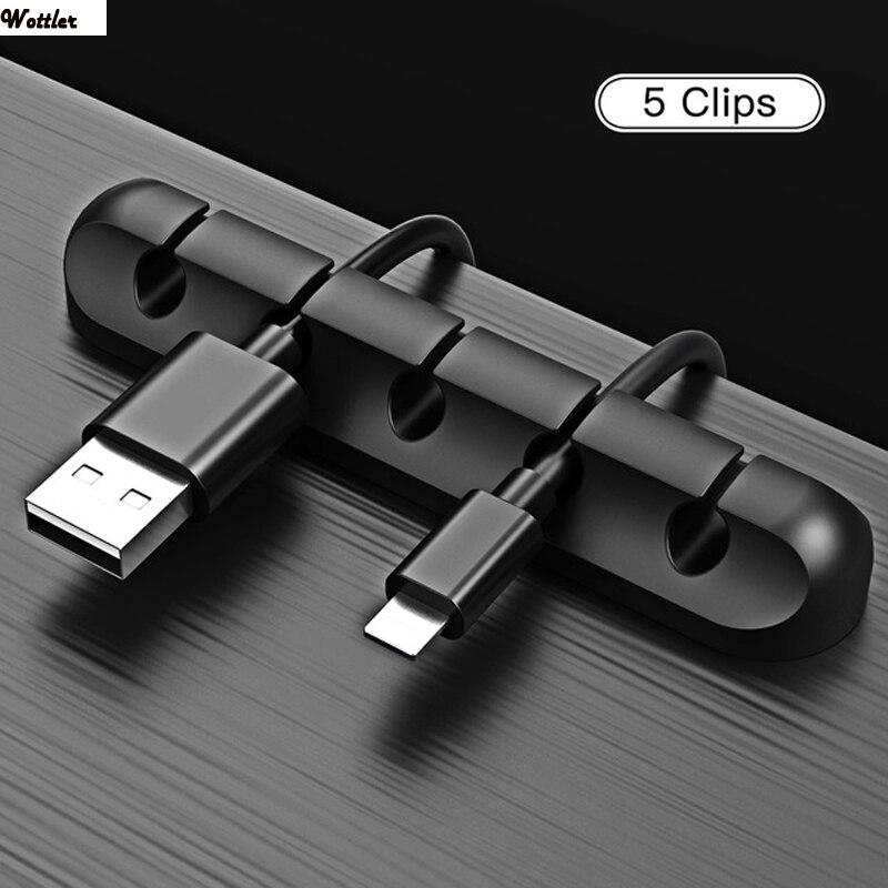 Organizador de Cables USB, enrollador de Cables, fijador de bridas de silicona,...