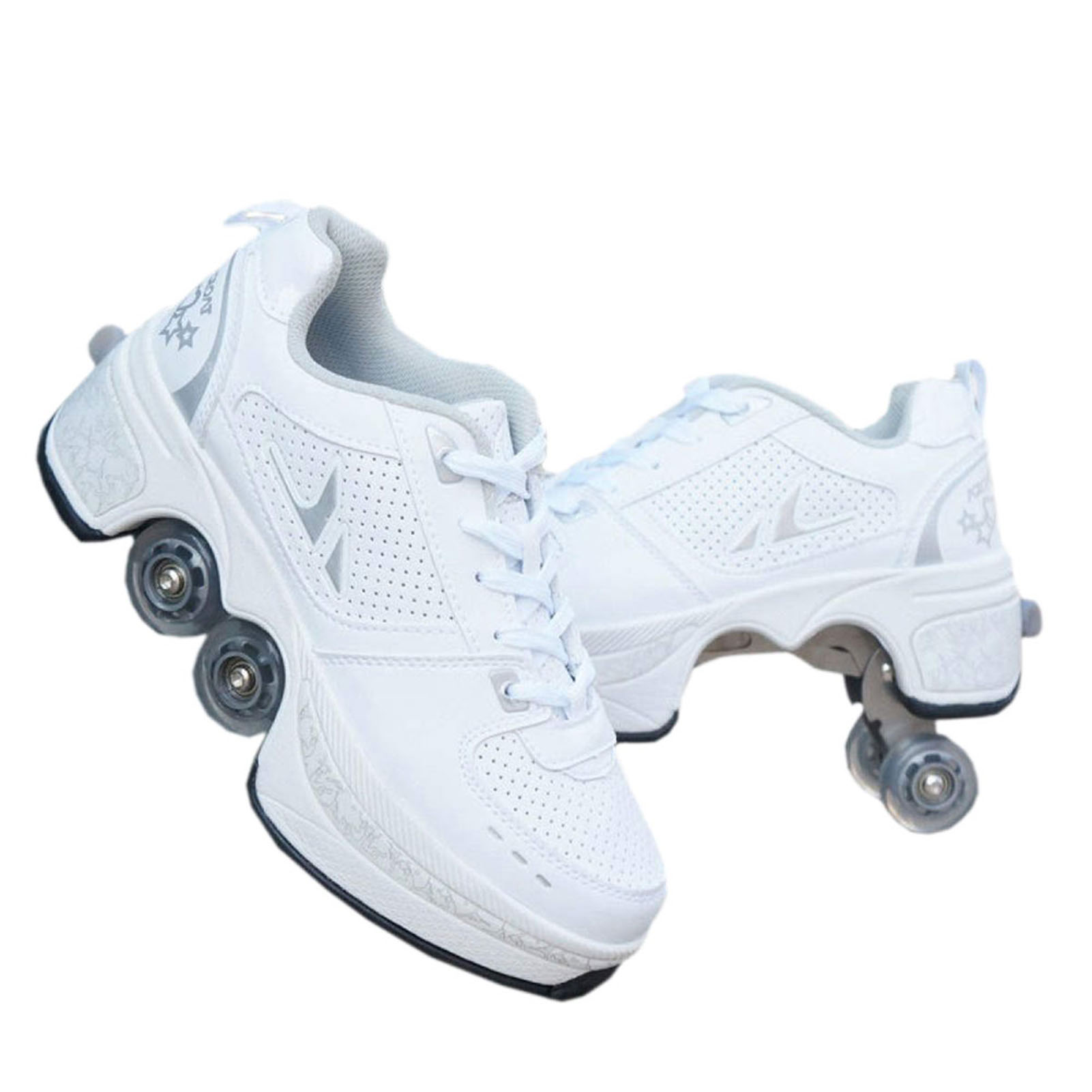 Deformation Roller Shoes Parkour Wheel Shoes 4 Wheels Rounds Of Running Shoes Roller Skates Shoes for Unisex Skating Shoes