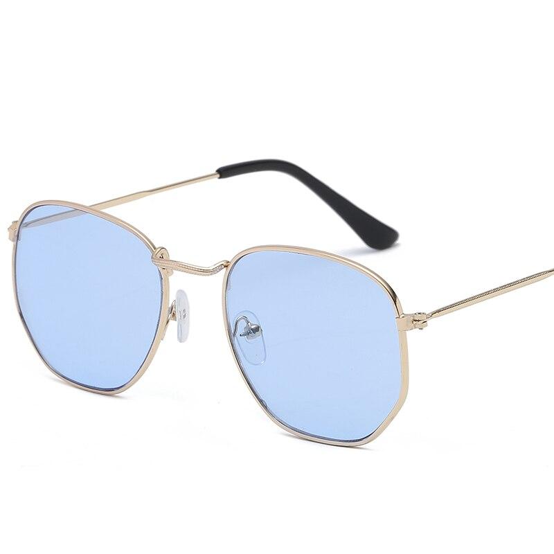 2021 Men Hexagonal Flat Lenses Aviation Sunglasses Brand Designer New Vintage Women Pink Mirror Driv