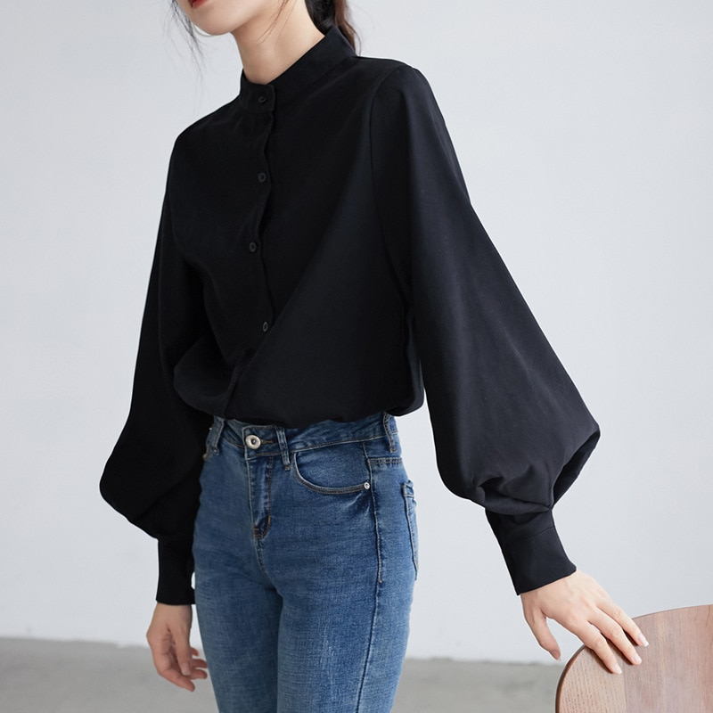 Single Breasted Stand Collar Blouse Solid Big Lantern Sleeve Women Color Korean Style Female Tops El