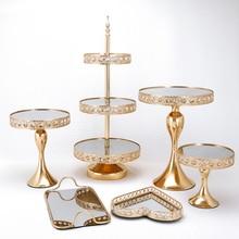 Золотая зеркальная подставка для торта, набор из Золотого Металла, подставка для кекса, украшения для десерта, пьедестал, вечерние подставк...