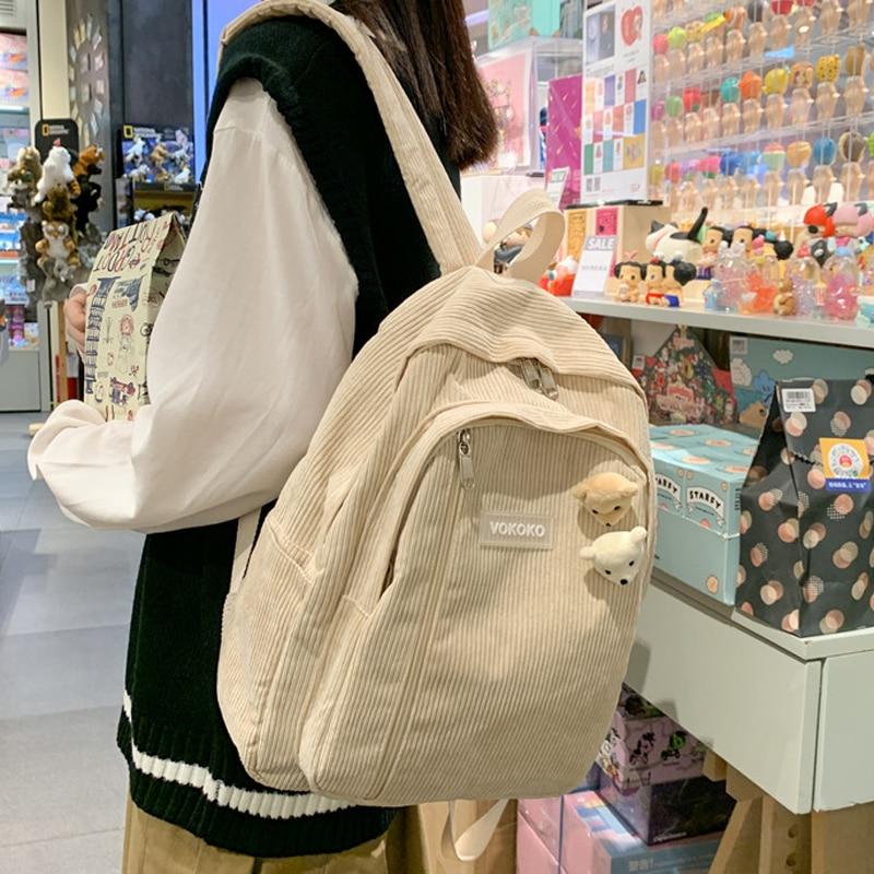 boys stripe Stripe Cute Corduroy Woman Backpack Schoolbag For Teenage Girls Boys Luxury Harajuku Female Fashion Bag Student Lady Book Pack