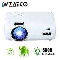 WZATCO     Mini projecteur LED intelligent E600  Android 9 0  prise en charge Wifi  Full HD  1080p  4K  pour Home cinema