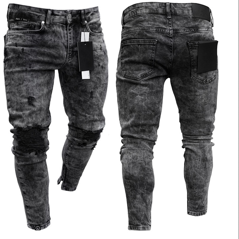 Мужские высокие эластичные джинсы скинни 2020, черные рваные байкерские джинсы, Мужские повседневные джинсы на молнии для бега