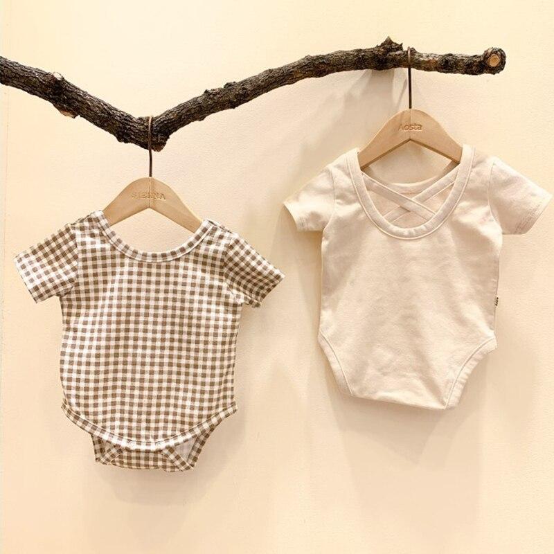 Novo 2020 roupas de bebê xadrez 0-3yrs infantil meninos meninas bodysuits manga curta toodler meninas uma peça