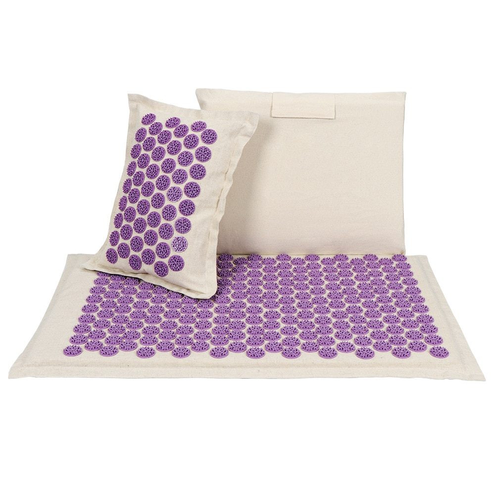 Acupuncture Mat Acupressure Mat Set Massager Cushion Massage Yoga Ma Relieves Stress Back Neck Sciatic Pain Relaxation