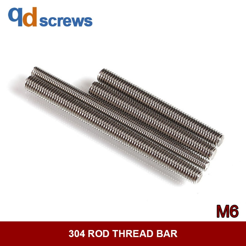 304 M6 Hastes de rosca parafusos de aço Inoxidável parafusos Do Parafuso Prisioneiro Parafuso rosca da haste bar DIN796