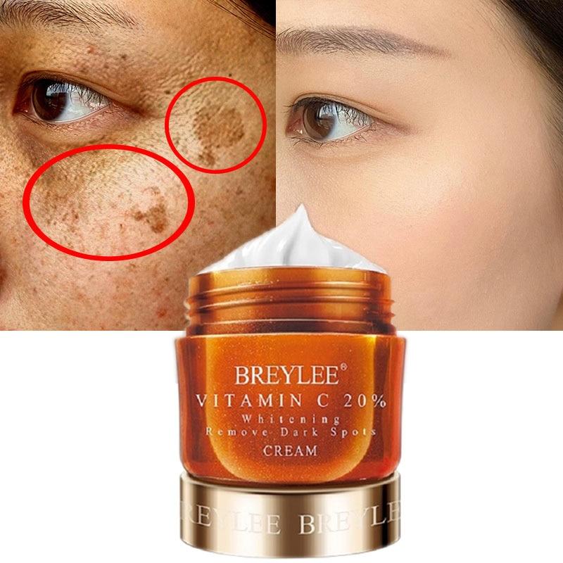 BREYLEE Face Cream Vitamin C 20% Whitening Remove Dark Spots Facial Cream Repair Fade Freckls Melanin Remover Brighten Skin 40g