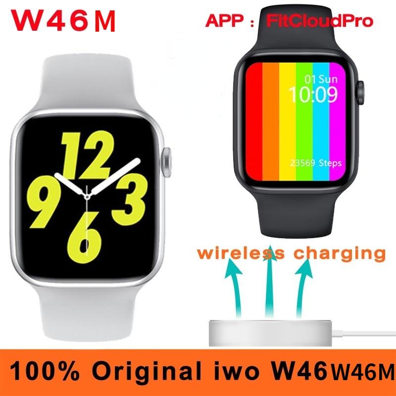 Original iwo W46M Smart Watch 2020 ECG Wireless charging 40MM 44MM Body Temperature IP68 Waterproof DIY Face iwo W46 Smartwatch