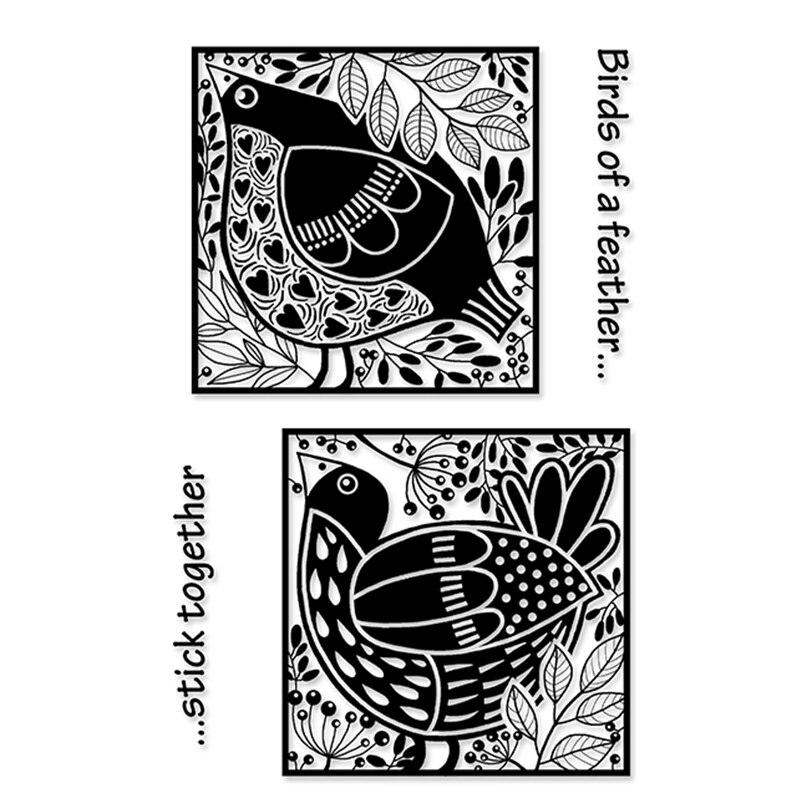 Bloques de pájaro sello de silicona transparente sello para álbum para recortes de fotos sellos transparentes decorativos