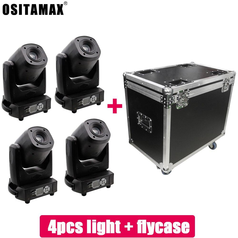 Flycase con 4 Uds. 120W Gobo Spot luz con cabezal móvil haz de Zoom luz DMX DJ efecto de luz escenario Wash patrón Fiesta Disco Spot Light