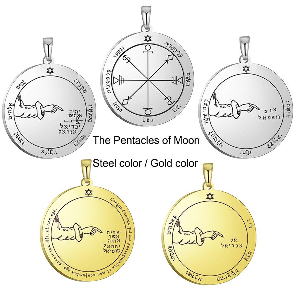 Colgante para collar DIY con pentculo de luna de Solomon de dawapaa, amuleto protector fuerte Supernatural, accesorios de acero inoxidable