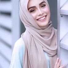 10 pièces/lot en gros écharpe en mousseline de soie châles deux visage Hijab foulards musulmans/écharpe 47 couleurs 180*75cm