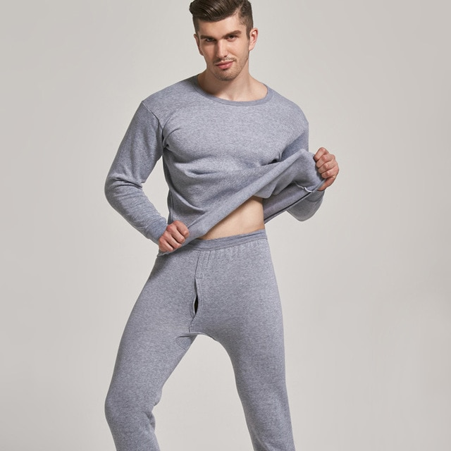 Thermal Underwear Sets Men Gray Warm Casual Underwear Hight Stretch 2020 Thermal Pajamas