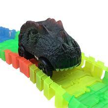 Les voitures de piste de dinosaure compatibles avec les pistes magiques et les pistes néo allument les accessoires de piste de course avec 3 lumières de LED clignotantes