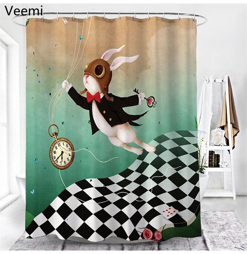 ستارة حمام مصنوعة من قماش البوليستر المقاوم للماء ، طباعة أرنب كرتوني حديث ، متينة مع خطافات ، للحمام ، 100%
