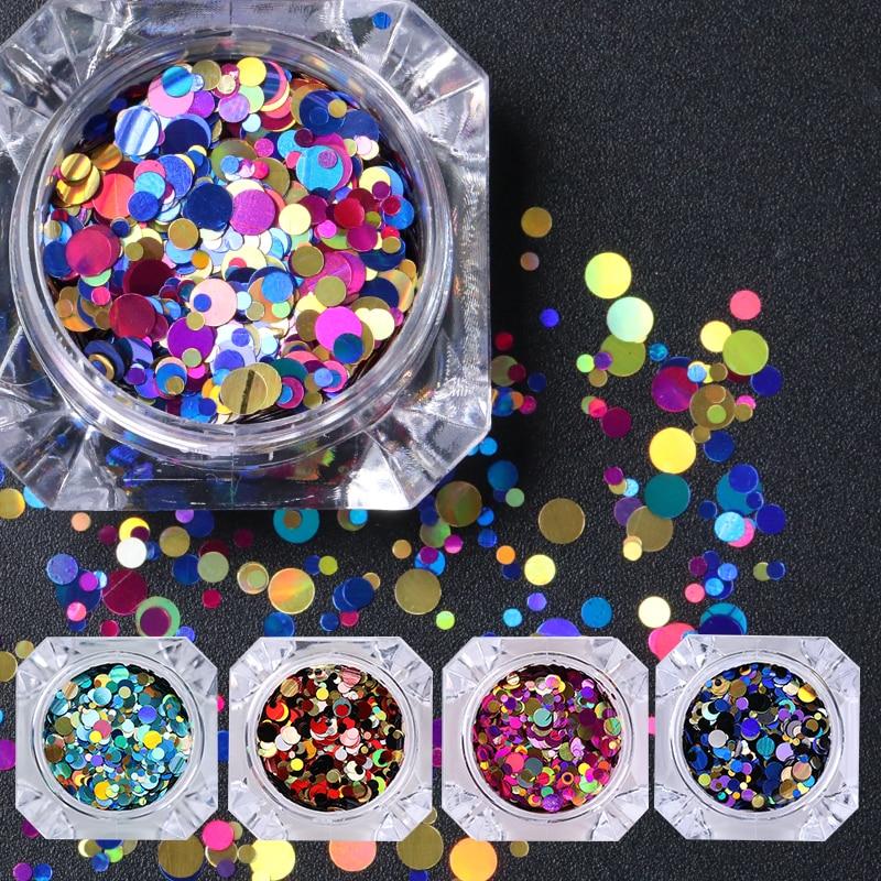 1 caixa nascido bonito glitter paillette colorido prego lantejoulas glitter em pó prata laser decoração do prego